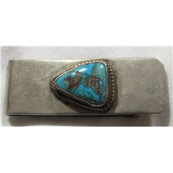 STERLING MONEY CLIP WITH LARGE TURQUOISE