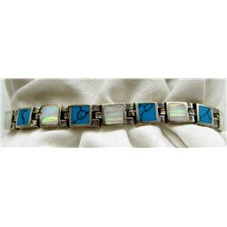 8 INCH NAVAJO STERLING PANEL BRACELET WITH