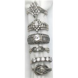 6-ANTIQUE STERLING CZ's RINGS WITH