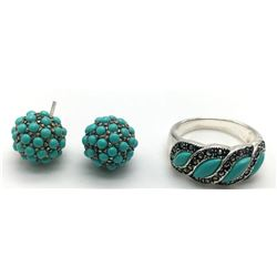 STERLING RING AND EARRING SET