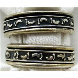 2-STERLING MEN'S RINGS WITH FEET ENGRAVING