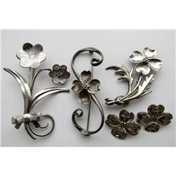 5-STERLING SILVER FLOWER BROACHES. MARKED!