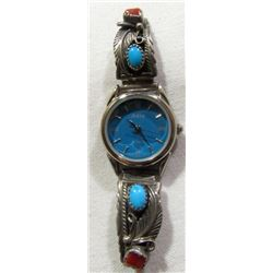 STERLING ALDO WATCH WITH NAVAJO WATCH TIP