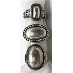 3-MODERN STERLING RINGS WITH DIFF DESIGNS