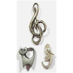 3-STERLING BROACHES: (1)MUSICAL INSTRUMENT,