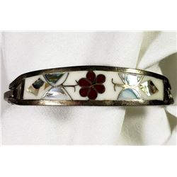 ANTIQUE MEXICO STERLING CUFF WITH ABILONE