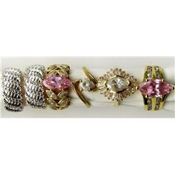6-BLING RINGS WITH CZ & PINK STONES. LOOKS NEW!