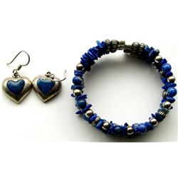 MEXICO BLUE STONE STERING JEWELRY SET