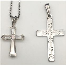 STERLNG CHAIN WITH (2)CROSS PENDANTS