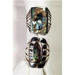2-ANTIQUE ABILONE STERLING RINGS! GORGEOUS!