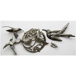 LOT OF (5) VINTAGE BIRD STERLING BROACHES