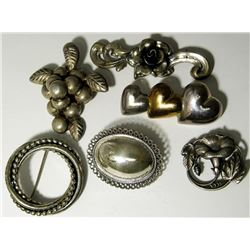6-STERLING SILVER BROACHES: 1 MARKED BEAU-STER