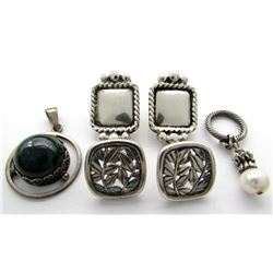LOT OF STERLING JEWELRY: (2) PENDANTS (ONE
