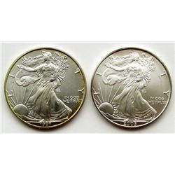 1997 & 2005 .999 SILVER EAGLES U.S. $1 COINS