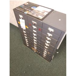 METAL 33 DRAWER CABINET WITH CONTENTS
