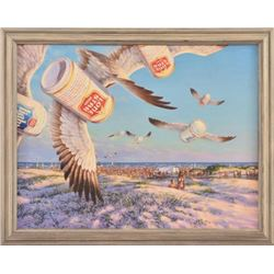 "Sam Yeates ""Sea Gulps"" Lone Star Beer Painting"