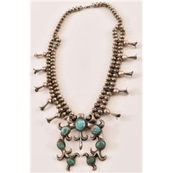 Turquoise Silver Squash Blossom Necklace