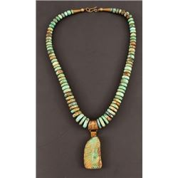 Native American Marked Turquoise Pendant Necklace