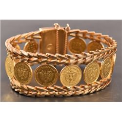 18K Gold Mexican Coin Bracelet