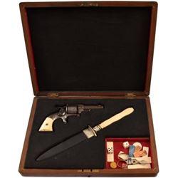 Cased Allen & Wheelock .32 Revolver & Ivory Dagger