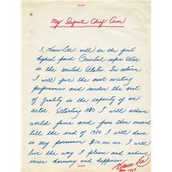 Bruce Lee extraordinary autographed personal statement titled, 'My Definite Chief Aim'.
