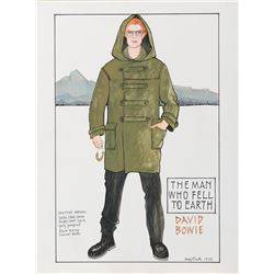 David Bowie 'Thomas Newton' costume sketch by May Routh for The Man Who Fell to Earth.