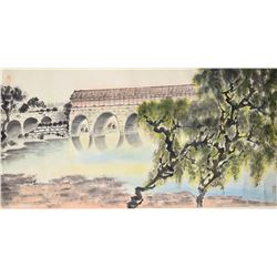 Chinese Watercolor Landscape with Artist Seals