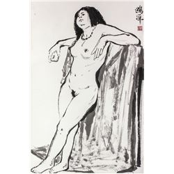 Ou Yang b.1937 Chinese Ink Nude on Paper