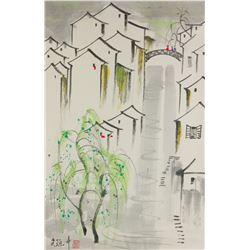 Wu Guanzhong 1919-2010 Chinese Watercolor Scroll