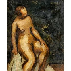 Paul Colin French Cubist Oil on Canvas Nude 1952