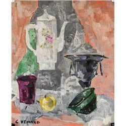 Claude Venard French Post-Cubist Oil on Paper