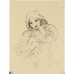 Alphonse Mucha Czech Art Nouveau Pencil on Paper