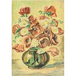 German School Watercolor on Paper Still Flowers