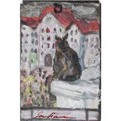 Chaim Soutine Expressionist Mixed Media on Board