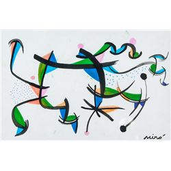 Joan Miro Spanish Surrealist Mixed Media on Paper