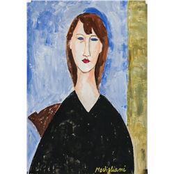 Amedeo Modigliani Italian Fauvist Gouache Paper