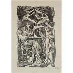 Jacques Villon Signed Litho Male/Female Figures