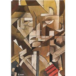 Ivan Kliun Russian Modernist Gouache on Paper