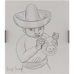 After Diego Rivera Mexican Modernist Sketch Paper