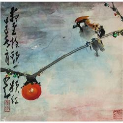 Zhao Shao'ang 1905-1998 Chinese Watercolor Bird
