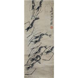 Qi Baishi 1864-1957 Chinese Ink Shrimps Scroll