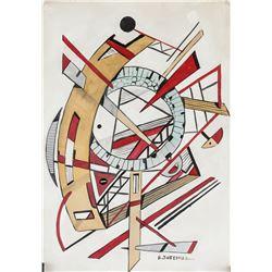 Alexander Liberman Russian-US Abstract Gouache