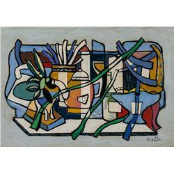Fernand Leger French Cubist Oil Cardboard Still 52