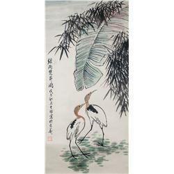Li Kuchan 1898-1983 Chinese Watercolor Egrets