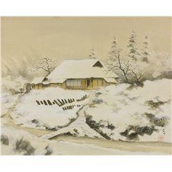 Tanryou Hirama b.1901 Japanese Watercolor Scroll