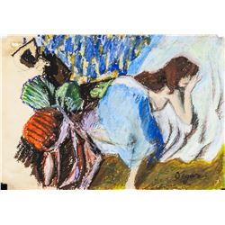 French Impressionist Mixed Media Signed