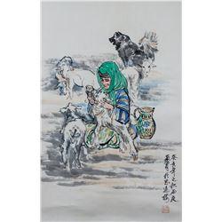 Huang Zhou 1925-1997 Chinese Watercolor Scroll
