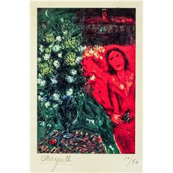 Marc Chagall French Surrealist Signed Litho 10/50