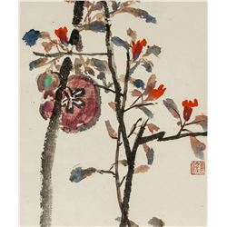 Yang Shanshen 1913-2004 Chinese Watercolor Flower