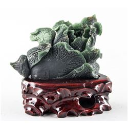 Chinese Hetian Green Jade Cabbage with Wood Stand